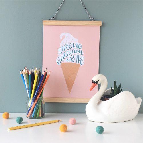 Rock-Paper-Swan-Pink-plain-ice-cream-A4-print